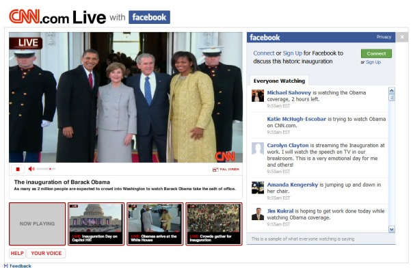 CNN and Facebook make two-way media history, with commentary flowing all directions.